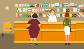 Web banner of a pharmacist. Young woman at the workplace in a pharmacy. Standing in front of shelves with medicines.There are also visitors here. Vector Stock Image