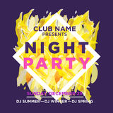 Web banner or print poster for NIGHT beach party. Royalty Free Stock Photos