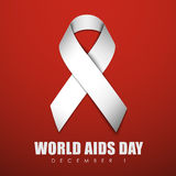 Web banner with ribbon for World AIDS Day. Square red banner with a white ribbon for World AIDS Day. Vector illustration Stock Photos