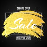 Web banner for sale. Golden grunge line with glitters. Dark background. Big discounts. Special offer. Background for your project. Vector illustration. EPS 10 Royalty Free Stock Photo