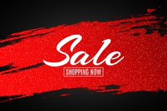 Web banner for sale. Red grunge line with glitters. Black background. Big discounts. Special offer. Background for your project. V. Ector illustration. EPS 10 Stock Photos