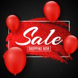 Web banner for sale. Red grunge line with glitters and red balloons. Black background. Big discounts. Special offer. Background fo. R your project. Vector Stock Photos