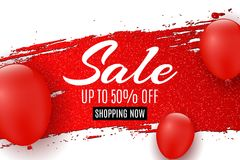 Web banner for sale. Red grunge line with glitters. Red balloons. White background. Big discounts. Special offer. Background for y. Our project. Vector Stock Images
