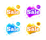 Web Banner sale summer. Set web Banner sale summer. Vector summer background for Your discount. Colored triangle isolated on white background. Big sale and best Stock Photography