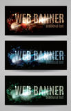 Web banner with shattered effect collection. Collection of web banner templates with a shattered effect Stock Photos