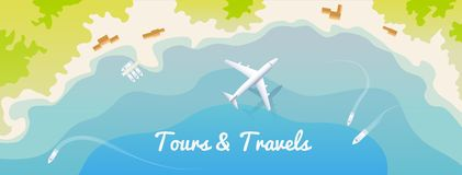 Web banner for site travel agency, flat design, top view. Stock Image