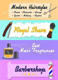 Web banner on the subject of barbershop. The list of services provided Royalty Free Stock Photos