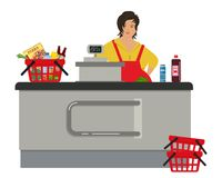 Web banner of a supermarket cashier. Cute plump woman is standing near the cash register. There is also a red shopping cart with products in the picture Stock Images