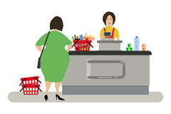Web banner of a supermarket cashier. The young woman is standing near the cash register. There is also a buyer and a shopping cart with products in the picture Stock Photo