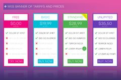 Web banner of tariffs and prices. Website user interface for pricing table. UI and UX, vector. royalty free illustration
