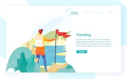 Web banner template with backpacker, hiker, traveller or explorer and place for text. Hiking, backpacking, trekking. Adventure tourism and travel. Modern flat royalty free illustration