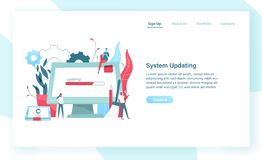 Web banner template with giant computer display and tablet PC with progress bar on screen and tiny people. System update. Or upgrade, software maintenance stock illustration