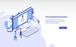 Web banner template with giant computer, pair of tiny people carrying padlock and place for text. Personal data. Protection, secure digital information access vector illustration