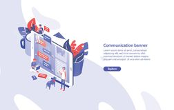 Web banner template with giant smartphone, tiny people around it and place for text. Communication, instant messaging. Messengers and social networks. Creative vector illustration