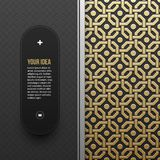 Web banner template on golden metallic background with seamless pattern Stock Photo