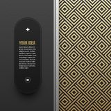 Web banner template on golden metallic background with seamless pattern Stock Photography