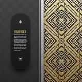 Web banner template on golden metallic background with seamless pattern Royalty Free Stock Photos