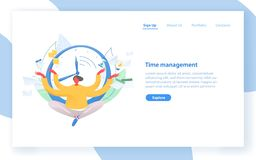 Web banner template with man sitting with crossed legs against clock face on background. Time management, effective. Planning and organization, scheduling vector illustration