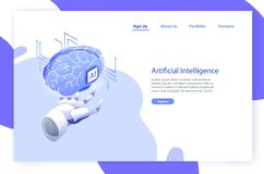 Web banner template with robotic hand holding brain and place for text. Artificial intelligence, smart robot, science. And innovative technology, hi tech vector illustration