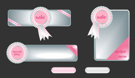 Web banner template  set. With ribbons and buttons Stock Photo