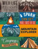 Web banner template. Web banner template with illustrations of a tant, campfire, forest and rocks Royalty Free Stock Photos