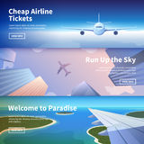 Web banner on the theme of travel by airplane Royalty Free Stock Images
