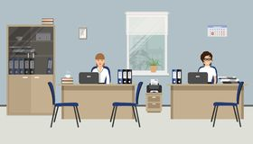 Web banner of two office workers. Two young women are employees at work. There is furniture in beige color and blue chairs on a windows background in the Royalty Free Stock Images