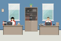 Web banner of two office workers Royalty Free Stock Photos