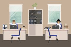 Web banner of two office workers. The young woman and man. Web banner of two office workers. The young woman and man is an employees at work. There is Stock Photo