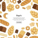 Vector cartoon bakery elements background with place for text illustration royalty free illustration