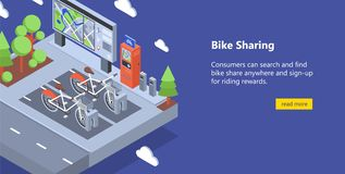 Free Web Banner With Bicycles Available For Rent Parked At Docking Stations On City Street, Payment Terminals, Map Stand Royalty Free Stock Photography - 137934727