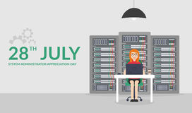Web Banner. Woman System Administrator. Vector illustration in flat style. Technologies Server Maintenance Support. 28 July System Administrator Appreciation Day Royalty Free Stock Photography