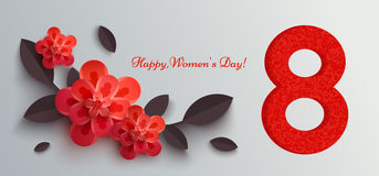 Web banner for women's day with paper flowers. Vector illustration, it can be used in the newsletter, brochures, postcards, tickets, advertisements, banners stock illustration