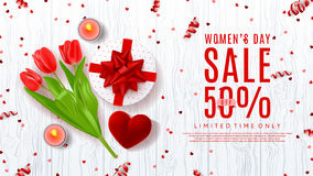 Web banner for Women`s Day sale Stock Photos