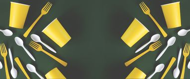 Web banner yellow and white dishes on a green background royalty free stock photography