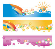 Web banners. Happy and colorful Web banners for web usage Royalty Free Stock Photography