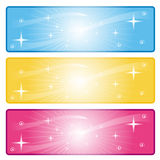 Web banners. A set of colorful web banners of stars and swirls Stock Image