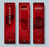 Web banners with abstract polygonal red background Royalty Free Stock Photography