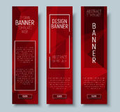 Web banners with abstract polygonal red background Royalty Free Stock Image