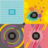 Web banners backgrounds with trendy colorful shapes. And objects. Vivid and creative set of geometric design elements Stock Photo