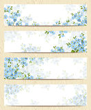 Web banners with blue forget-me-not flowers. Vector eps-10. Royalty Free Stock Photos