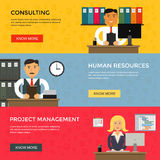 Web banners for business work, start up and Stock Photos