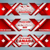 Web banners for Canada day, celebration. Set of web banners with texts, maple leaf and national flag colors for first of July, Canada day, celebration; Vector Royalty Free Stock Photo