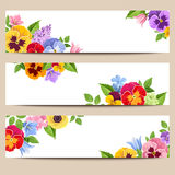 Web banners with colorful flowers. Vector eps-10. Set of three vector web banners with colorful pansies, harebell and lilac flowers Royalty Free Stock Photo