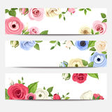 Web banners with colorful flowers. Vector eps-10. Royalty Free Stock Image