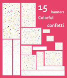 15 web banners with Colorful flying confetti. 15 web banners with Colorful confetti. The popular sizes. Horizontal and vertical, rectangular and square. Festive stock illustration