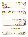 Web banners with colorful pansy flowers. Vector eps-10. Royalty Free Stock Photo