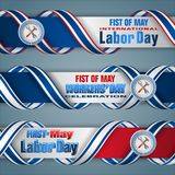 First May, International Workers` day, web banners. Web banners, design background with 3d texts, hammer and wrench for celebration of First May International Stock Photos