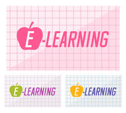 Web banners design of e-learning text on squared paper Royalty Free Stock Image