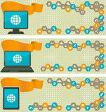 Web Banners with Different Devices and Internet Icons in Cells Stock Images